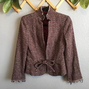 Zara Raw Hem Fringe Tweed Blazer